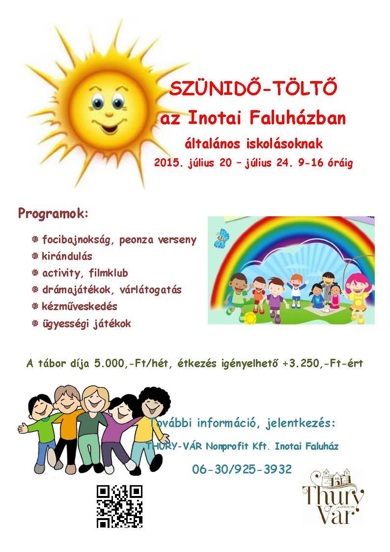 Szünidő töltő programok plakátja